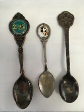 Lot of 3 Vintage Souvenir Spoons 1982 Epcot Center Mickey Mouse Disney World