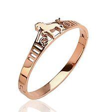 14K Rose Gold Spirit Horse Logo Stainless Steel Women's Bangle Bracelet Gift