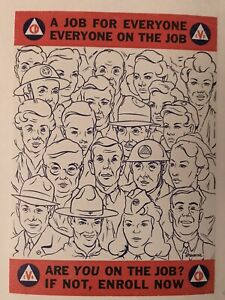 Linen-backed original 1950  Civil Defense poster A Job For Everyone R Webster