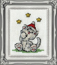 Cross Stitch Kit Design Works Christmas Grey Cat Picture w/Frame & Mat #DW513