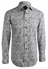 Billionaire Couture Men's Floral Cotton Shirt Ascot Regular Fit Swarovski button
