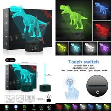 Dinosaur 3D Night Light Table Desk Lamp, Elstey 7 Colors Optical Illusion Touch