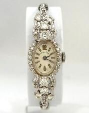 LADIES VINTAGE 14K WHITE GOLD HAMILTON 1 1/4ct DIAMOND DRESSY WRIST WATCH 15mm