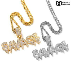 Gold Silver Filled Iced Out 18K Savage Italic Style Pendant Necklace