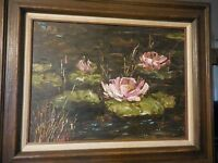 Vintage Oil on Board Painting of Flowers on Lilly Pond Signed Duane Armstrong
