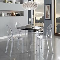 Transparent Modern Crystal Dining Accent Side Chair in Clear
