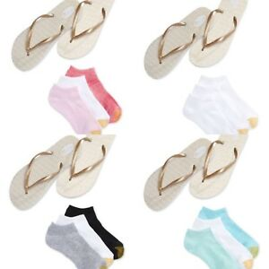 GOLDTOE women's 3-pair Liner Socks w/ Metallic Flip Flops MED 6/7