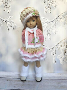 """Outfit for Doll Dianna Effner 13""""Little Darling, Knitted Clothes Dress Handmade"""