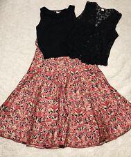 Peruvian Connection Skirt Tank Crochet Vest 3 Piece