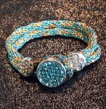 Turquoise & Gold Glittery Kumihimo Bracelet W/snap Clasps