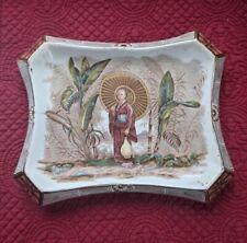 Antique Victorian Burleigh Ware Chinoiserie Scene  Teapot Tray RARE