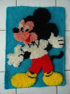 Ancien Tapis Mickey Mouse Walt Disney Vintage an 70 Tapisserie Murale Mickey