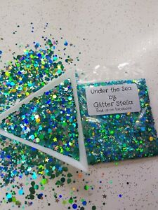 Nail Art Mixed Glitter (Under The Sea) 10g Bag Holographic Chunky Festival Dance