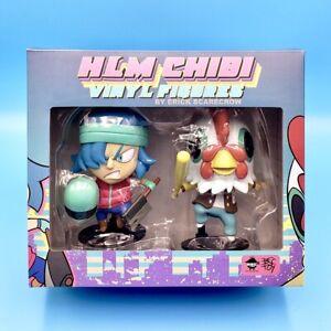 """Hotline Miami Vigilante & Assassin Chibi Figure Set 4.75"""" Vinyl HLM Statue"""