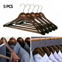 5Pcs Extra Thick Wide Wood Clothes Hangers Garment Suit Hanger with Non-Slip Bar