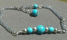 Handmade Natural Blue Turquoise Gemstone Silver Steel Wire Wrapped Bar Bracelet