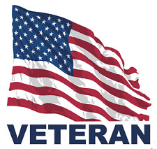 "Veteran with American Flag 5.5"" Sticker / Decal"