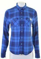SUPERDRY Womens Shirt Size 6 XS Blue Check Cotton Vintage The Boyfriend Z224