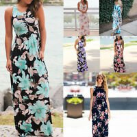 Women Boho Dress Floral Sleeveless Evening Party Beach Maxi Long Sundress USA