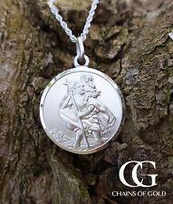 "Sterling Silver Men's St Christopher Pendant Necklace 20"""