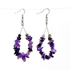 1 Tear Drop Pair of Amethyst Gemstone Chips Hoop Dangle Earrings - # B303
