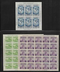 US Scott #730-#731, #735 mint no gum as issued 1933-34 Farley souvenir sheets lh