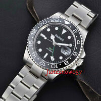 PARNIS 40mm Sapphire Glass GMT Ceramic Bezel Automatic Movement Watch Date