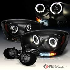 For 06-08 Ram 1500, 06-09 2/3500 Black DRL LED Pro Headlights + Smoke Fog Lights