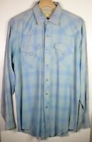 Vintage H Bar C Ranchwear Men's Western Shirt - Medium - Blue - Long Tail - Rare
