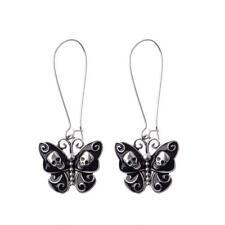 1pair Punk Drop Hook Dangle Earrings Skeleton Ear Stud Butterfly Jewelry