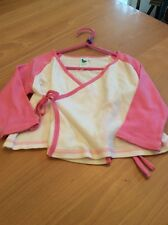 girls clothes 2-3 years White Cotton Wrap Round Pink Long Sleeved Top