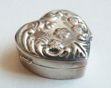 Petite boite à pilules en ARGENT massif en forme de coeur  silver box heart