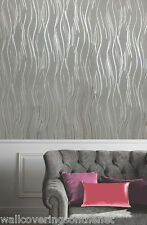 NEW Grey, Black and Silver With Glitter, Modern Design, Blown Vinyl Wallpaper