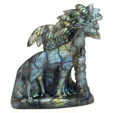 "3.5"" Labradorote Carved Carving Giraffe Figurine Ornament Statues Home Decor"