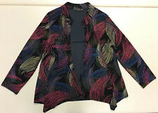 Picadilly Women Black Colorful Gold Sparkle Holiday Cardigan Accent Jacket Sz L