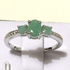 0.70 ct TW Genuine Emerald in Rhodium Plated 925 Sterling Silver Ring Size 7