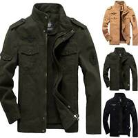 Men's Winter Warm Multi-pocket Zip Hooded Jacket Military Combat Work Punk Coats
