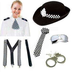 POLICE FANCY DRESS WPC HAT TIE BRACES CUFFS BADGE EPAULETTES BATON AVIATOR