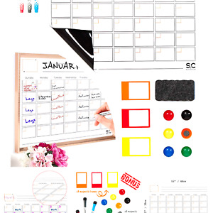 Magnetic Dry Erase Calendar and Weekly Planner. Whiteboard Calendar with 3 Ma...
