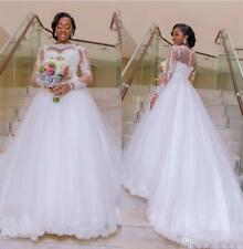 Plus Size Nigerian Wedding Dresses White Organza Bridal Gowns Gown Size 6-16+
