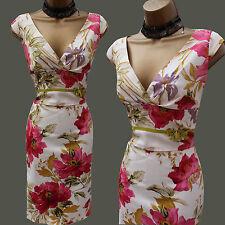 Karen Millen Rare Floral Garden Print Satin Galaxy Cocktail Wiggle Dress 10 UK