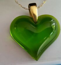 LALIQUE GORGEOUS FRESH GREEN LARGE HEART SOLID 9CT GOLD -STUNNING