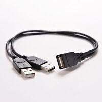 Doppel USB 2.0-A Stecker auf USB Buchse Kabel Power Adapter Y Splitter Kabel