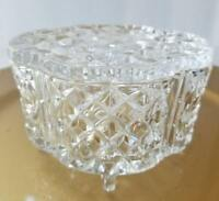 Diamond Cut Clear Crystal Glass Footed Jewelry / Trinket Box