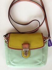 $168 COACH Poppy Colorblock Leather Flap Crossbody Bag #48941_SV/Aqua/Celadon
