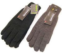 Herren Thinsulate Thermo Gestrickt Winterhandschuhe Schwarz/Grau Größen M/L L/XL