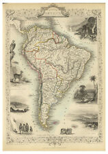 South America Brazil Colombia Argentina Peru illustrated map Tallis ca.1851