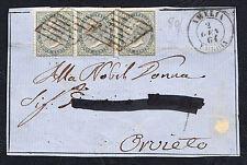 STORIA POSTALE Regno 1864 Frontespizio 3x5c da Amelia a Orvieto (FB5)