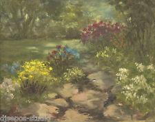 """Perennial Path"" Debra Sepos original oil 8"" x 10"" lilies hydrangea landscape"