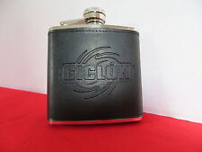 "Stainless Steel Flask  with Embossed Black Leather ""Ciclon"" Rum  5oz  NEW IN BOX"